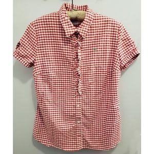 Lacoste gingham check short sleeve button down